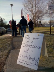 Picket line at Truedell Public School, Kingston, Ontario. December 20 2012.