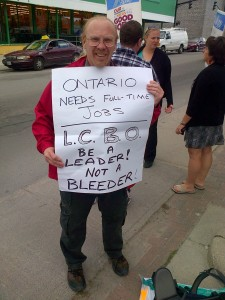 solidarity with LCBO worker at Kingston's Barrack Street liquor store