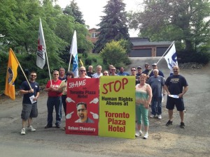 Strikers picket outside Mr. Chaudary's parents home: He's being a bad boy!