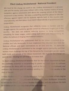 Lindsay's election leaflet