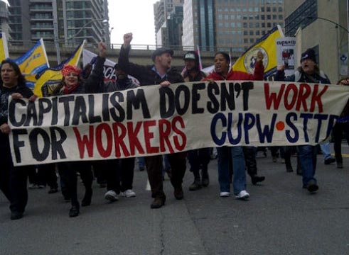 Postal workers marching in Toronto, October 27 2011.