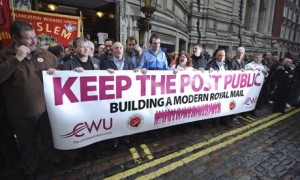 Communication Workers Union in Britain rallies against Royal Mail privatization