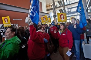 Union members stormed the lobby of Nova Scotia Power on Tuesday.