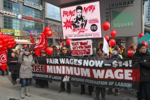 February rally in Toronto for a 14 dollar minimum wage
