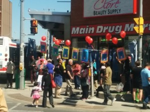Minimum wage outreach blitz at Bloor and Dufferin in Toronto