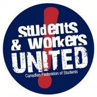 students and workers united button