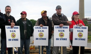 Sudbury miners at Vale-Inco on strike, 2009