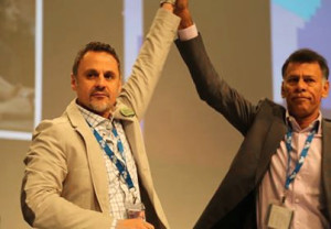 Hassan Husseini (left) and Hassan Yussuff at the CLC Convention in May 2014