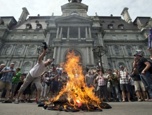 Protest against pension attack at Montreal City Hall June 17 2014 (source: National Post)