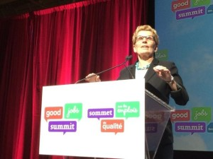 Ontario Premier Kathleen Wynne addressing the Good Jobs Summit