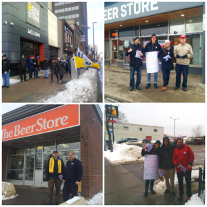 Activists across Ontario leafleting in support of striking Crown workers at Beer Store locations.