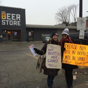 #BottlesNotCans info picket at Toronto-Bathurst, January 2015