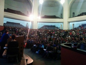 University of Toronto TAs decide at a mass meeting to not send the tentative agreement reached between their union and the administration to ratification. Photo by Shiraz Vally