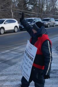 Walking the line in Peterborough, February 5, 2015. Photo: Matt Davidson