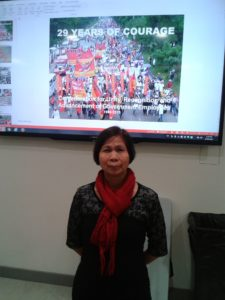 Rosalinda Nartates, Secretary General of Confenderation for the Unity, Recognition, and Advancement of Government Employees (COURAGE) Philippines, speaks March 11, 2015, at a Lunch and Learn organized by Canadian Union of Public Employees Local 4600.