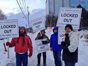 Pressroom workers walking a picket line outside Halifax's major daily newspaper the Chronicle Herald. #boycott the Herald online and in print until these workers get a fair deal. Photo by Suzanne MacNeil.