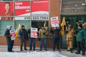 Crown Holdings strikers demand Liberal MPP's speak up against corporate abuse of Ontario workers defending wages of next generation (Feb.27, 2015)
