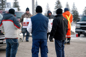 Unifor Local 3264 workers picketing outside both Carmeuse Lime gates on County Road 6 on Sunday, Jan 18, 2015, near Beachville, Ont. (Photo:Megan Stacey/ Sentinel-Review)