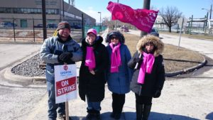 Picket support from Sarnia CUPE District Council members. Photo by Michele LaLonge-Davey