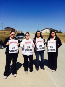 Nischawayasihk Personal Care Home nurses striking for better wages in Nisichawayasihk Cree Nation at Nelson House.   Photograph By Manitoba Nurses Union