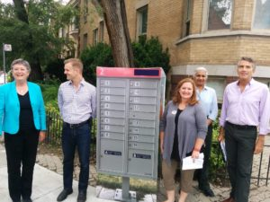 Community members and City councillors Janet Davis and Joe Cressy hold a press conference about the installation of CMBs in Toronto.