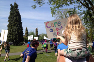 One of the $10/day childcare rallies in BC, May 9 2015.