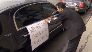 Taxicab worker protesting Uber in Toronto