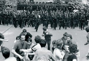Police charge pickets in the Battle of Orgreave, June 18 1984.