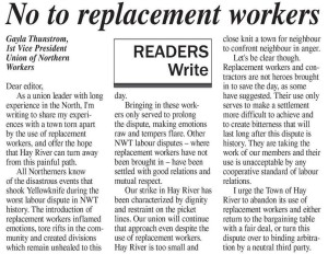 Gayla Thunstrom of the Union of Northern Workers speaks out against scabbing. Letter in the Hay River Hub, May 27 2015.