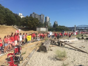 Protestors form human chain along Vancouver's seawall at Sunset Beach.