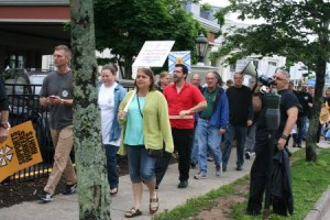 Hundreds of IATSE members, in town for a conference, rallied at the Egg Studios office in downtown Halifax to protest a recent lock-out of its members. Photo Robert Devet