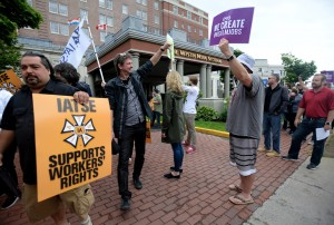 IATSE members protesting against the illegal lockout are confronted by Egg Film executives and supporters in Halifax, Nova Scotia.