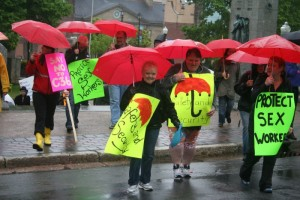 In 2014 sex workers and their allies took to the street to protest Bill C-36. Recent arrest of 27 johns in Sydney, Cape Breton, under that legislation will further endanger sex workers, one advocate fears. Photo Robert Devet