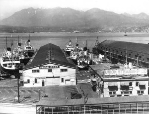 Vancouver, 1935 - At the Union Steamship Co dock, all ships were at port due to the strike.