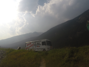The Save Canada Post RV travelling across the Rockies