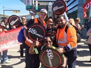 Workers at Pearson Airport protesting for $15/hour minimum wage.