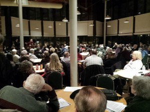 Packed Hamilton town hall, February 18 2015