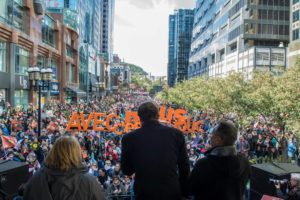 Public sector workers and community members rally  against austerity in Montreal on October 4.