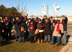 Strikers workers withUNITE HERE Local 75 and their allies on the picket line in North York