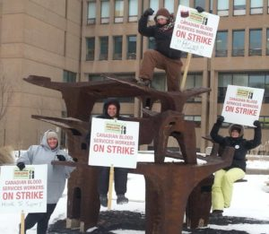 Excerpt: Eight blood collection workers in Charlottetown, PEI, have been on the picket line for close to five months now. They're fighting for fairness for Canadian Blood Services workers across Canada. Via Facebook