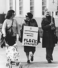 Women on strike at Fleck Manufacturing in 1978