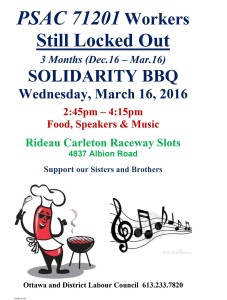 Rideau-Carleton OLG workers lockout BBQ rally, this Wednesday March 16