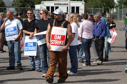 Bombardier strike in Thunder Bay in 2011. Strikes against Bombardier's concessionary bargaining stance also took place in La Pocatiere in 2012 and in Thunder Bay once more in 2014.