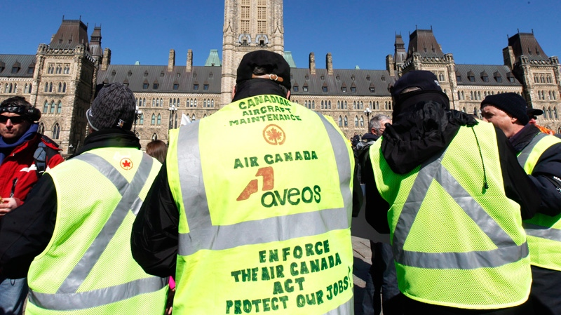 Aveos workers on Parliament Hill protesting the 2012 closure and outsourcing of Air Canada maintenance operations in Winnipeg, Mississauga and Montreal - in violation of Air Canada's privatization legislation.