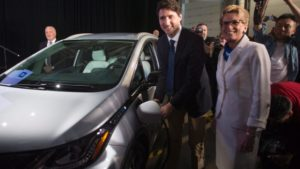 Prime Minister Trudeau and Ontario Premier Wynne in Oshawa on June 10 celebrating 1000 new jobs while 2500 others hang in the balance.