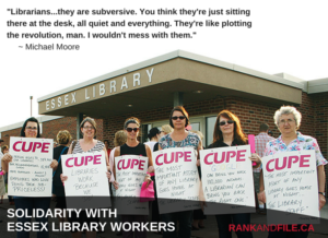 Essex County library workers with CUPE Local 2974 is on strike. Mississauga Library workers may also be on strike July 4.