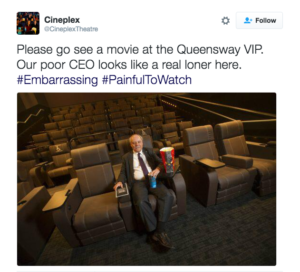 Some Cineplex workers set up this Twitter account skewering management. @CineplexTheatre