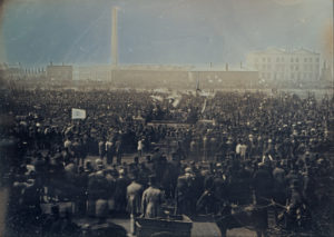 Working-class democracy: A Chartist mass meeting of over 20,000 in London's Kennington Common, April 1848, preparing to deliver a petition of 5.7 million signatures in support of the People's Charter for expanding the vote and democratic reform.