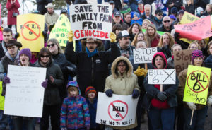 One of the several anti-Bill 6 rallies that drew several hundred supporters each.