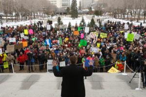 Wildrose leader Brian Jean speaking at anti-Bill 6 rally, December 2015.
